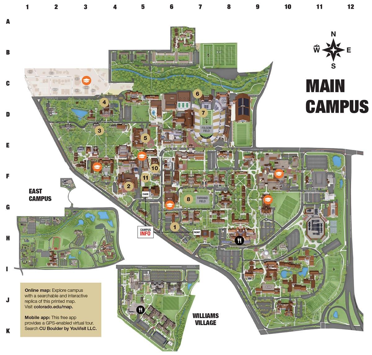 university of colorado boulder campus map Cu Campus Map University Of Colorado Online Visitor S Guide university of colorado boulder campus map