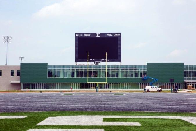 video scoreboard at Rynearson Stadium