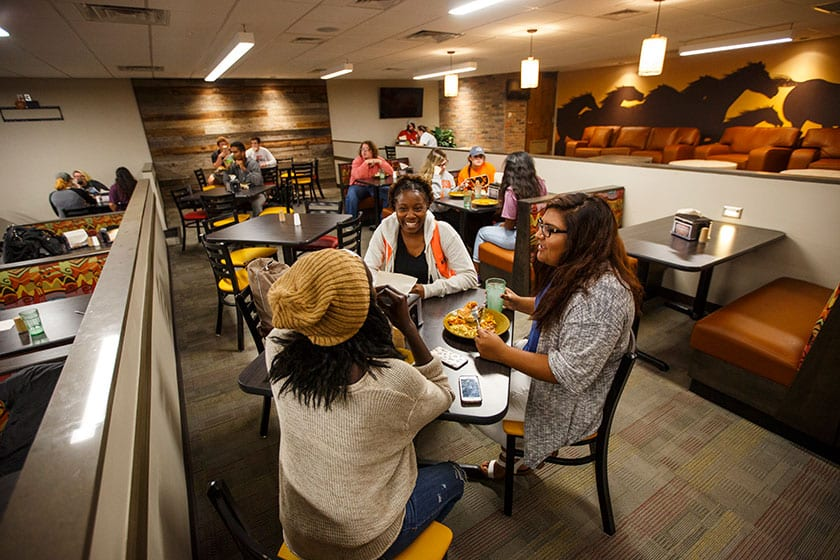 Students Eating at Student Center