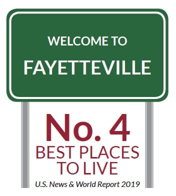 Fayetteville best places to live sign