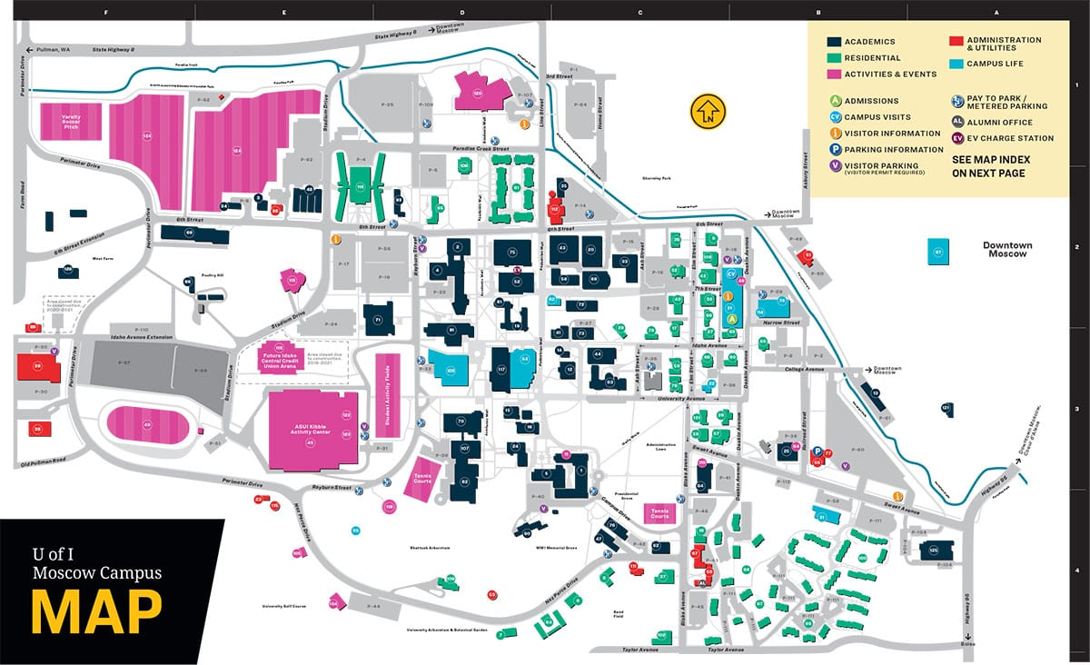 U of I Moscow Campus Map