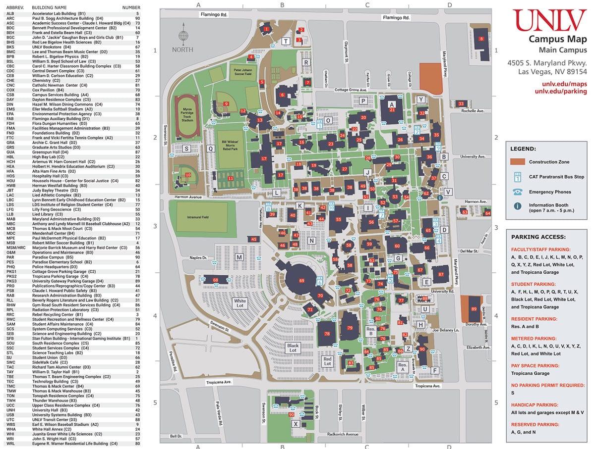 UNLV Campus Map